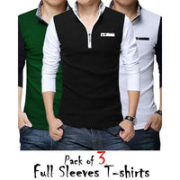 Pack of 3 - Multicolor Cotton Y-Neck T-shirts for Men Tajori