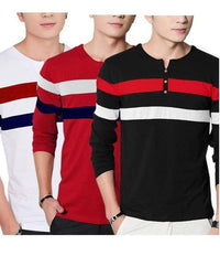 Pack Of 3-Multicolour Cotton Round Neck T-Shirts For Men Tajori
