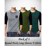 Pack Of 3 Round Neck Long Sleeves T-Shirts For Men - ABZ-2334 Tajori