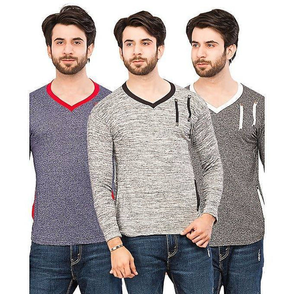 Pack of 3 V-neck chest strip full sleeves t-shirts for men Tajori