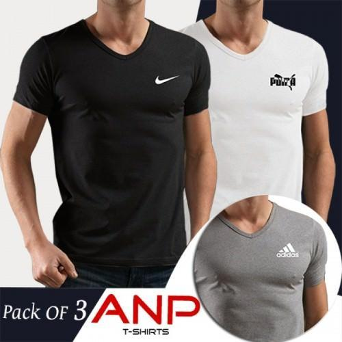 Neck pumaamp; Shirts Pack 3 Of Nike Adidas T Men For V Tl3KuF1Jc