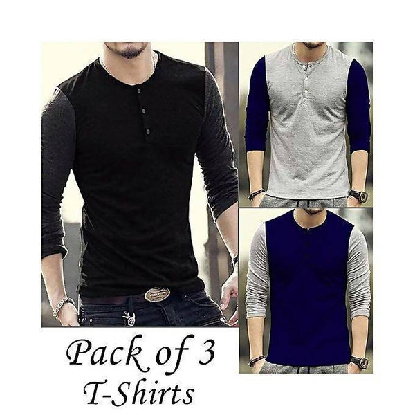 Pack of 3 wasket style round neck full sleeves t-shirts for men Tajori
