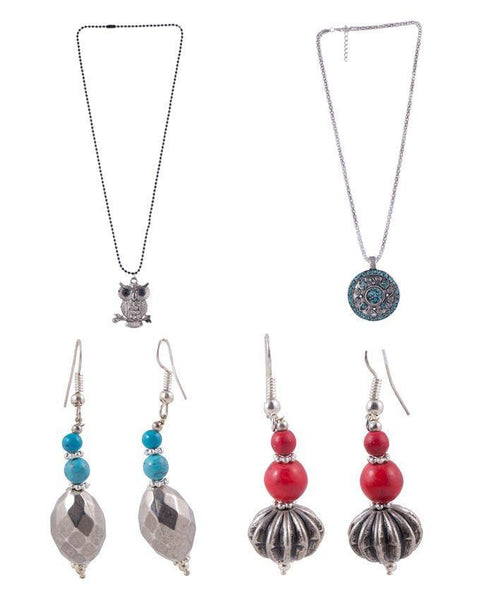 Pack of 4 - Multicolor Alloy Necklace & Earrings Set for Women Tajori