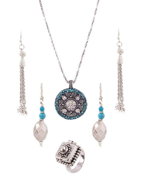 Pack of 4 - Silver & Blue Alloy Jewellery For Women Tajori