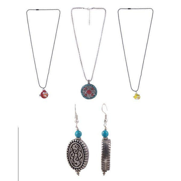 Pack of 4 - Silver Necklace & Earing Tajori