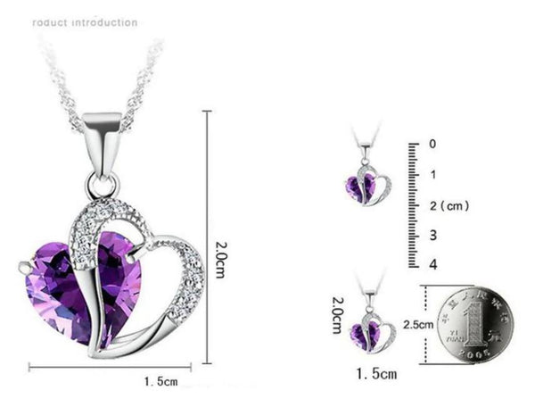 Purple Heart Rhinestone Necklace Tajori