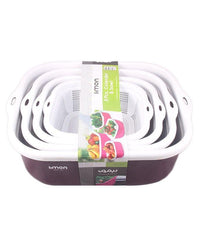 Rectangular Strainer and Bowl Set - 8 Pcs Tajori