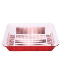 Rectangular Strainer With Tray - Red Tajori