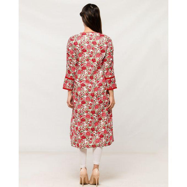Red Printed Women Basic Kurta in Printed Fabric Tajori