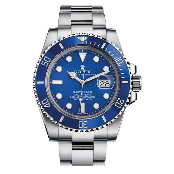 Rolex Submariner Date In White Gold With Blue Dial 5 Star Watch Tajori