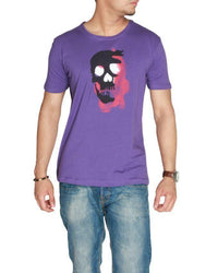 Round Neck Purple Jersey Skull Printed T-Shirt Tajori