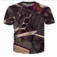 Scissors graphical printed half sleeves round neck t-shirt for men Tajori