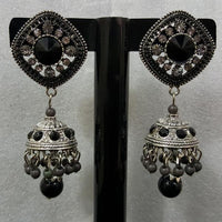 Stylish Jhumka Earrings with Black Stone in Antique Metal Tajori