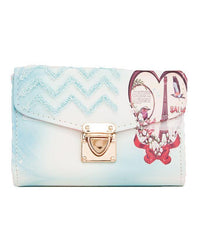 Stylish Printed Short Purse and Clutch with Golden Long Chain – Blue Tajori