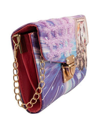 Stylish Printed Short Purse and Clutch with Golden Long Chain – Purple Tajori