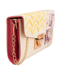 Stylish Printed Short Purse and Clutch with Golden Long Chain – Yellow Tajori