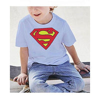 Superman White Kids T-Shirt Tajori