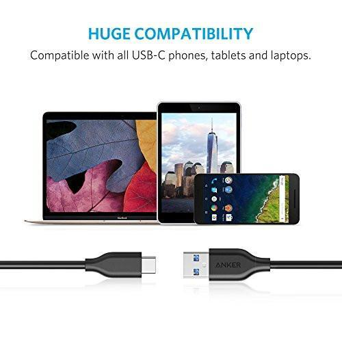 USB Type C Cable, Anker PowerLine USB C to USB 3.0 Cable (6ft) with 56k Ohm Pull-up Resistor for Samsung Galaxy S8, S8+, MacBook, Google Pixel, Nexus 6P, LG V20 G5, HTC 10 and more Tajori