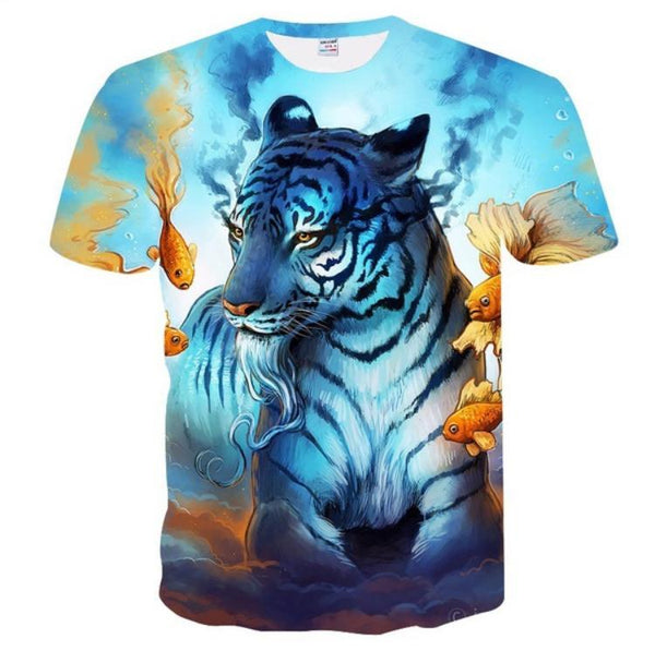 Water living tiger with fish graphics half sleeves round neck t-shirt for men Tajori