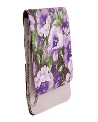 White and Purple Elegant Short Purse and Clutch for Women with Long Chain Tajori