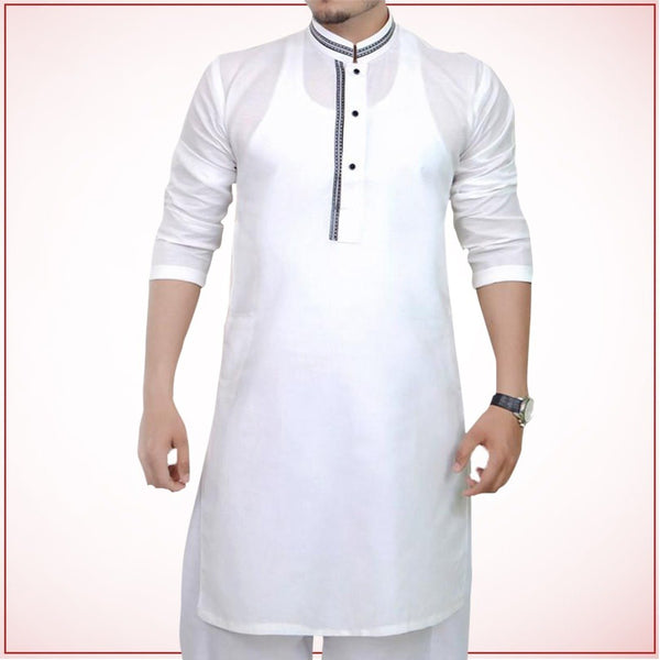 White cotton strip design kurta for men Tajori