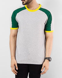White & Yellow Jersey Round Neck Raglan T-Shirt Tajori