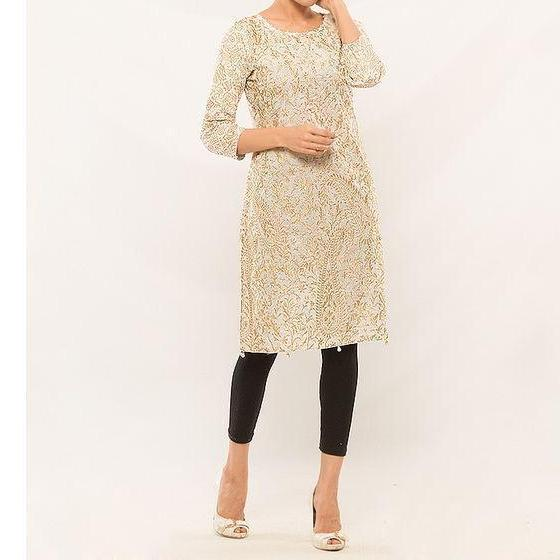 Women Fancy Kurta with Complete Front Embriodery Tajori