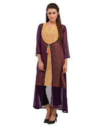 Women Kurta in Printed Fabric with Chiffon Layer Tajori