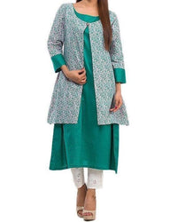 Women Kurta Printed & Solid Combination Tajori