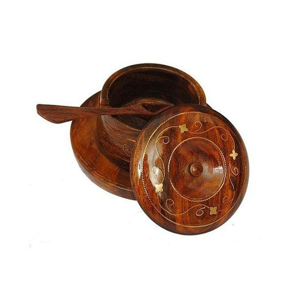 Wooden Sugar Bowl with Spoon in Brass Work - SA Tajori