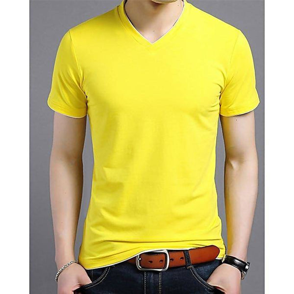 Yellow cotton V-neck short sleeves t-shirt for men Tajori