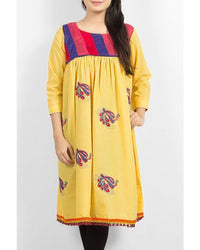 Yellow Lawn Kurta Tunic with Rainbow Striped Upper Body Tajori