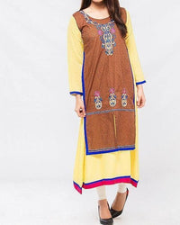 Yellow Malai Printed & Embroidered Kurta Tajori