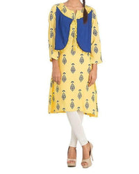Yellow Malai Printed Kurta with Solid Waist Coat for Women - 13941 Tajori