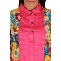 Yellow-Multi Colored Linen Kurta with Solid Pink Contrast Front Tajori
