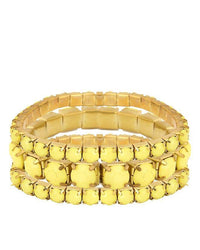Yellow Plastic & Metal Bracelet for Women (Pack of 3) - JP-3027 Tajori