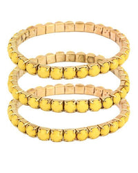 Yellow Plastic & Metal Bracelet for Women (Pack of 3) - JP-3034 Tajori