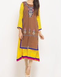 Yellow Printed Cotton Kurta With Front Embroidery For Women - Barcode 13312 Tajori