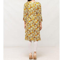 Yellow Printed Women Kurta with Front Heavy Embriodery & Sleeve Lace Work Tajori