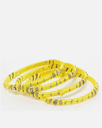Yellow Steel & Thread Bangles - 4 Pieces for Women - JP-3308 Tajori