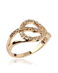 Zircon Embellished 24-K Gold Plated Geometric Ring Tajori