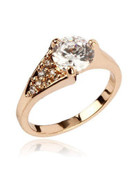 Zircon Embellished 24-K Gold Plated Ring Tajori