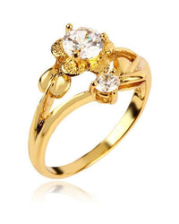 Zircon Floral Detailed 24-K Gold Plated Ring Tajori