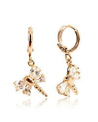 Zircon Studded 18-K Gold Plated Dragon Fly Earrings Tajori