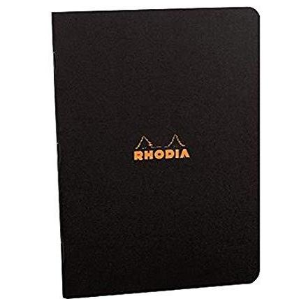 Rhodia - Classic Notebooks Side Staplebound, Black, Lined, 48 Sheets 8 1/4 x 11 3/4