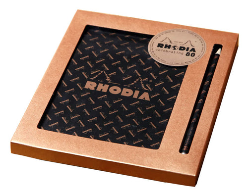 Rhodia - 80th Anniversary Gift Set (Limited Edition) 6 x 8 1/4 Grid Top Staplebound Notepad w/ pencil 70 Sheets
