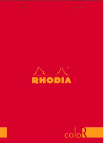Rhodia - ColorR Premium Stapled Notepad, Red, Lined, 6 x 8 1/4