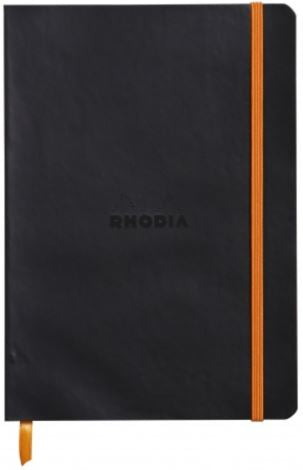 Rhodia - Soft Cover Rhodiarama Notebooks, 6 x 8 1/4 (A5), Black, Lined