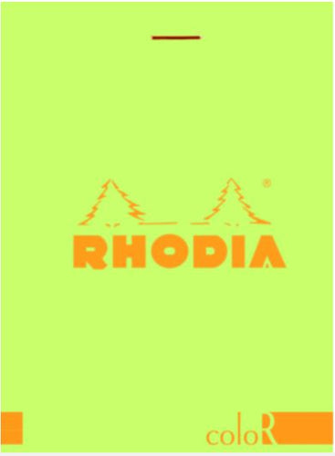 Rhodia - ColorR Premium Stapled Notepad, Anis Green, Lined, 3 3/8 x 4 3/4