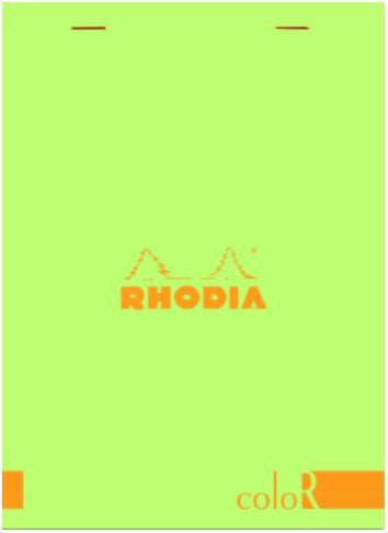 Rhodia - ColorR Premium Stapled Notepad, Anis Green, Lined, 6 x 8 1/4